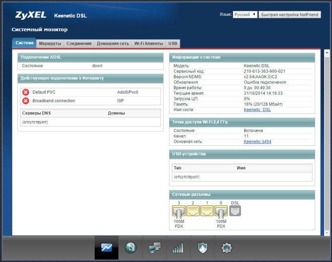 Внешний вид WEB интерфейса Zyxel keenetic DSL