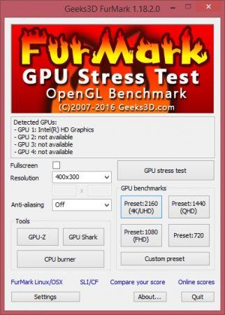 Начальный пользовательский интерфейс Furmark