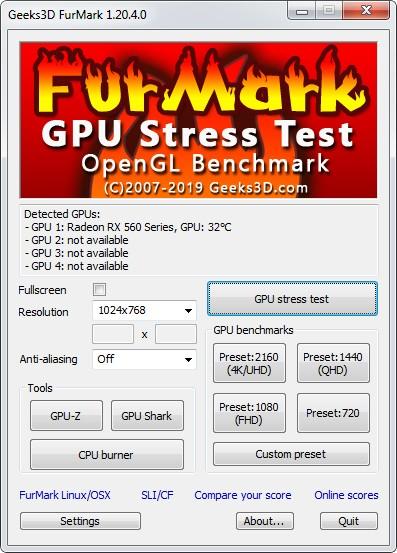 FurMark 1.20.4.0. Внешний вид программы