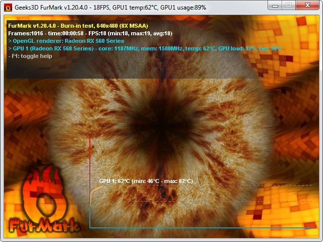 Процесс тестирования видеокарты с помощью FurMark 1.20.4.0