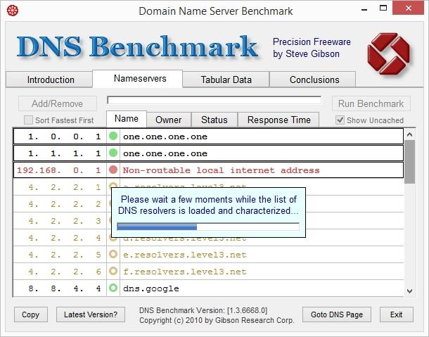 Интерфейс программы Domain Name Speed Benchmark