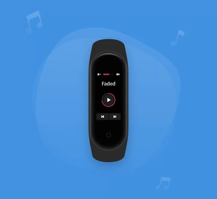 Xiaomi Mi Band 4. Управление музыкальными треками