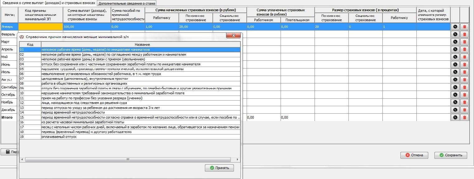Справочник Причины начисления меньше минимальной заработной платы