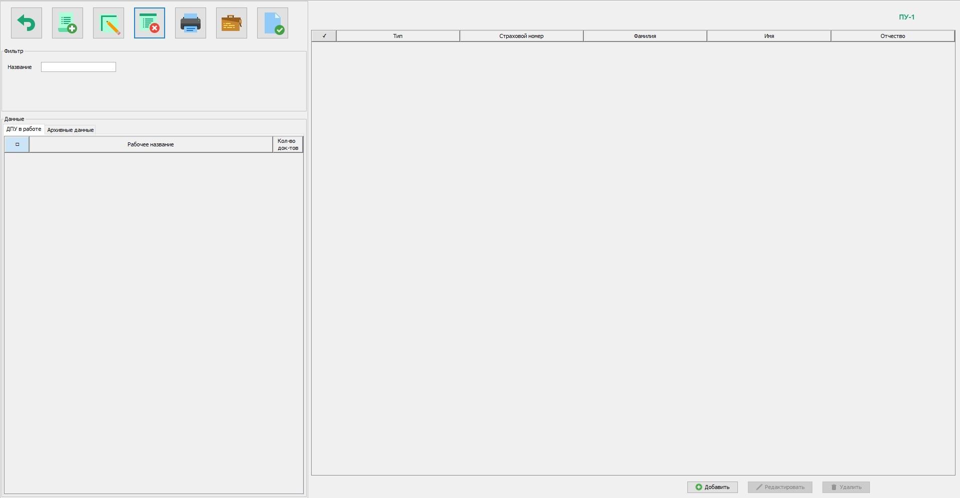 Рабочая область, предназначенная для заполнения форм ДПУ