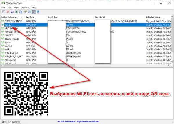 QR код для подключения к искомой сети Wi-Fi