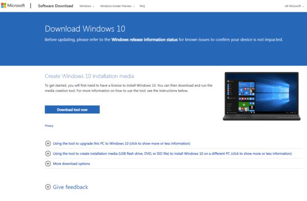 Страница загрузки оригинального ISO файла Windows 10